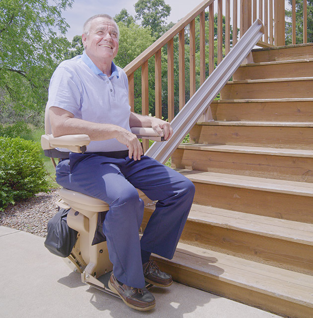 Bruno made in the USA City sre-2010E outside exterior outdoor stairway staircase chair stairlift